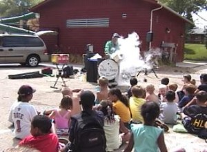 Steve Belliveau with Liquid Nitrogen at camp