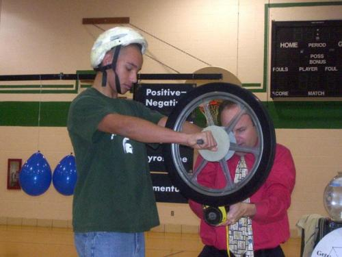 Jr. High Student becomes a Gyroscope at a Science School Assembly