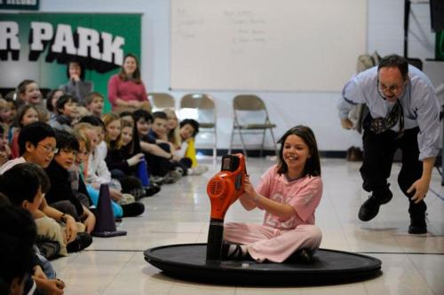 Hovercraft generates Excitement at a Science School Assembly